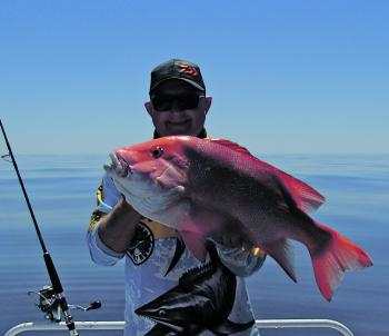 Les Jones with a solid red taken on an isolated bommie in 45m of water.