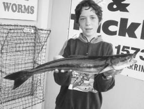 Peter and Sam Regrove with a 16.3kg mahi mahi trolled up on the continental shelf