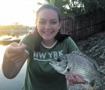 Darby Lawrence with a school sized bream, caught deep in a local canal.