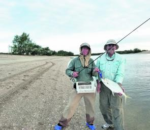 Queenfish are nothing but fun on a fly rod. Richard Harvey and Trevor McCall were pretty pleased with this fish.