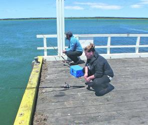 Toni Skinner and Brian Bnugwana trying their luck on the jetty at Port Albert.