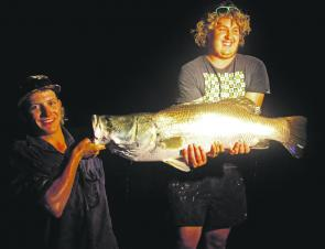 Rockhampton locals Thomas and Jake Dwyer about to release this 108cm locally caught barramundi.