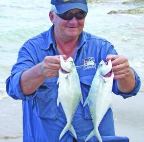 Graham pulled these queenfish from the beach at Farmers Point.