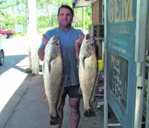 Trevor Straw displaying two cracking Pin mulloway that were the best of around 10 landed on live baits in mid-April.
