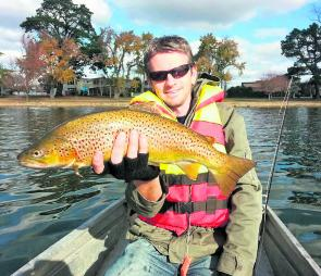 Trev Crawford with a cracking Lake Wendouree brown trout.