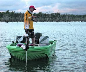 Jason Medcalf battles a 1m+ barra from Lake Proserpine's shallows. Expect to see more fish move into these areas over the next month.