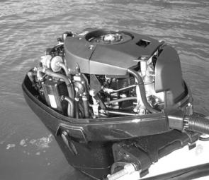 The 60hp Evinrude E-Tec two-stroke is a very compact piece of machinery.