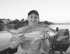 Peter Mossis used a Skitterpop surface lure to trick this Noosa queenfish.