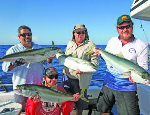 The result of a quadruple hook-up on kingies on board RU4REEL Charters.