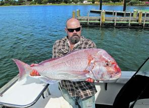 Local angler Pete Johnson with his great snapper weighing 10.4kg.