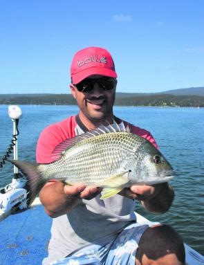 Melbourne fisho Frank with a superb yellowfin bream from Pambula Lake. This fish went 39cm and was released in top condition.