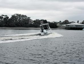 Tight turns demonstrate the hull design and its terrific performance.
