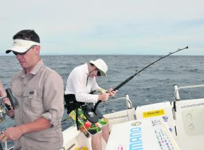 Jarred Flynn concentrating hard on a blue marlin.