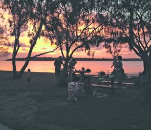 A typical family BBQ by the Passage. What a day, what a sunset! This is living.
