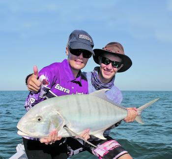 Georgie Bargenquast got amongst the pelagic action landing her first golden trevally and a metre queenfish.