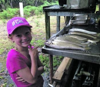 Young Ruby with her catch of Top End whiting.