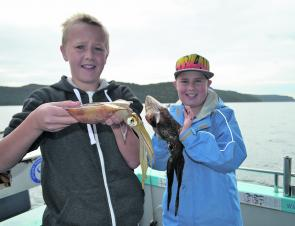 Blake and Dillon loved catching squid at Mackerel Beach. They do squirt ink, don't they boys!