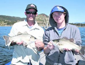 James and Steve worked hard to pick these Moogerah bass up on blade baits from scattered fish in the timber.