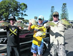 Craig Costigan, Wayne Van Den Broeck and friend with a nice haul of bream.