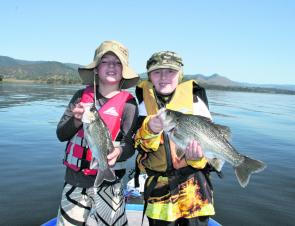 Blake and Timmy enjoyed a bait fishing session at Somerset Dam catching around 40 bass on live shrimp.