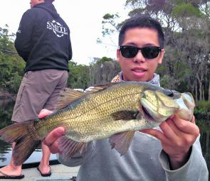 Dan Nguyen was happy catching big perch on soft plastics.