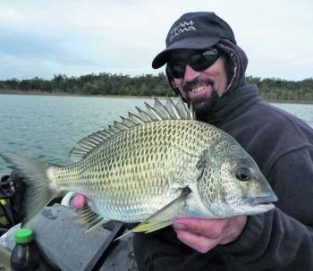This thumping bream was caught blading in the area locals call 'Yellowfin Alley'.
