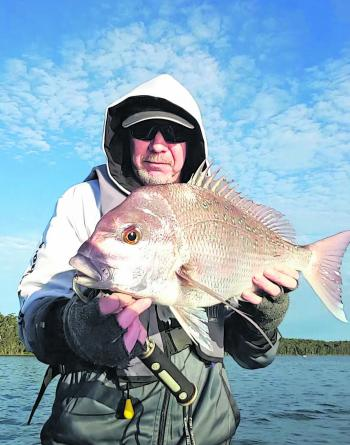 Rodney Austin with a nice 60cm snapper. Rod has managed a few this season on soft plastics.