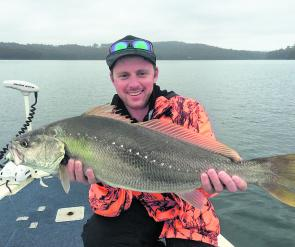Mitch Bloomquist with his first mulloway at 83cm caught in Wagonga Inlet and released.