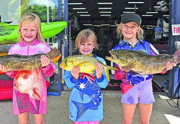Katie, Taylor and Bella Lower fished the Tewantin stretch with their Dad for estuary cod and golden trevally.