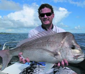 Shallow offshore reefs can provide good snapper at this time of year, like this one caught by Gordon Irving.