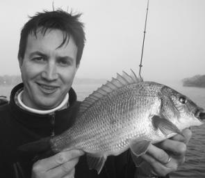 Rhys Smith with a typical Gippsland Lakes bream before release.