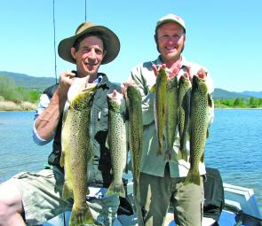 Omen and Simon with a brace caught on soft plastics around the weed beds – they ended up with 17 and only kept these fish.
