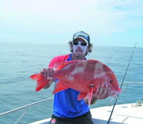 Jarred Roy with a wide red emperor, these fish are firing in March.