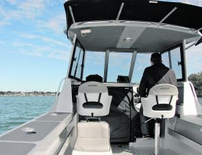 Extra comfortable seating is a highlight of this craft, the skipper's seat being on a hydraulic pedestal.