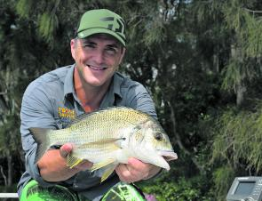 Glenn Helmers with a solid bream taken on a Gulp slowly worked down deep. Small vibes are another good lure to use this month.