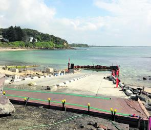 Well behind schedule, work on the new ramp at Norah Head is nearing completion.