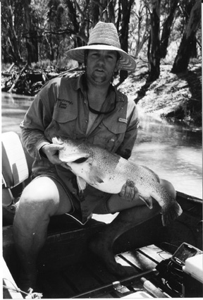 The author with a solid Edwards River cod that couldn't resist a juicy bardi grub.