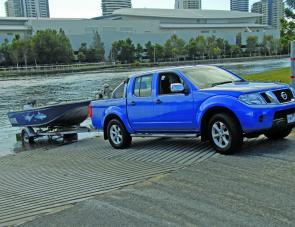 Towing the 4.2 metre Bullshark with it's 25 E-tec was no chore at all for the Navara ST-X diesel.