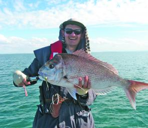 David Love caught this great 76cm snapper in the Southern Bay.