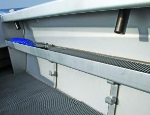 Plenty of space to keep long items such as rods and gaffs out of the deck space.