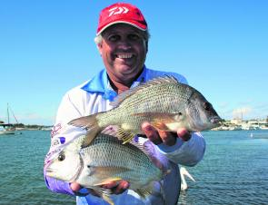 Wayne Bale with a brace of Winter bream.