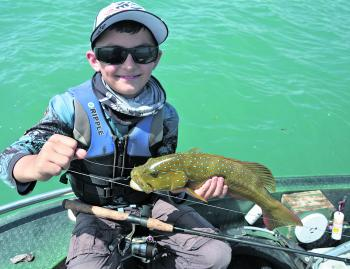 The closer reefs and ledges hold some nice trout; fish them with lighter line weights. Young Tannhym did well to get this PB on 15lb braid and 20lb leader.