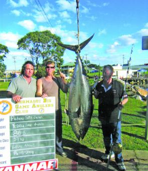 This late-run yellowfin tuna of 86.8kg was caught by Peter Stevens.