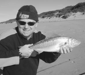 Fellow VFM contributor Rod Booker with a nice salmon taken from Golden Beach using a Raider metal lure.