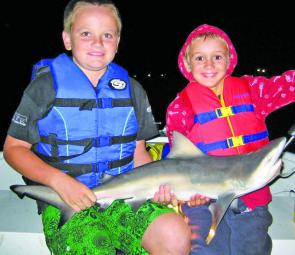 Jackson and Samuel Lenthal got a bit of a shock when this feisty little whaler shark scoffed down their live poddy mullet. With all the bait around at present, sharks are always on the cards when river fishing.