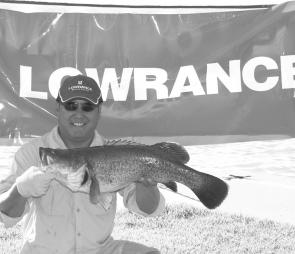 Tan Trieu caught this 72cm Murray cod in Lake Mulwala during the Lowrance Dash4Cash.