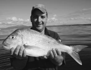 Joey Azzopardi with a beaut-looking snapper from the wider grounds off Potato Point.