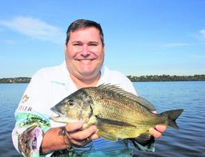 Here Grahame Finch with a solid black bream. There will be plenty more of these caught this month.