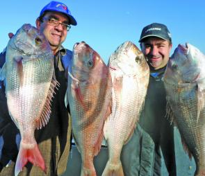 Local snapper guru, Mick Fava (right) and a couple of mates had a terrific session off Altona with fish up to 5kg taken during an early morning rising tide.