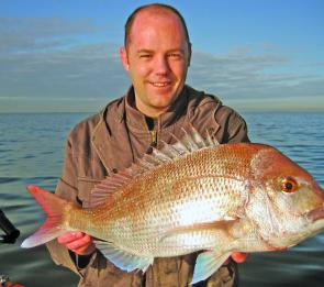 Ben Laverty opened his snapper season account with a 3kg red taken off Williamstown.